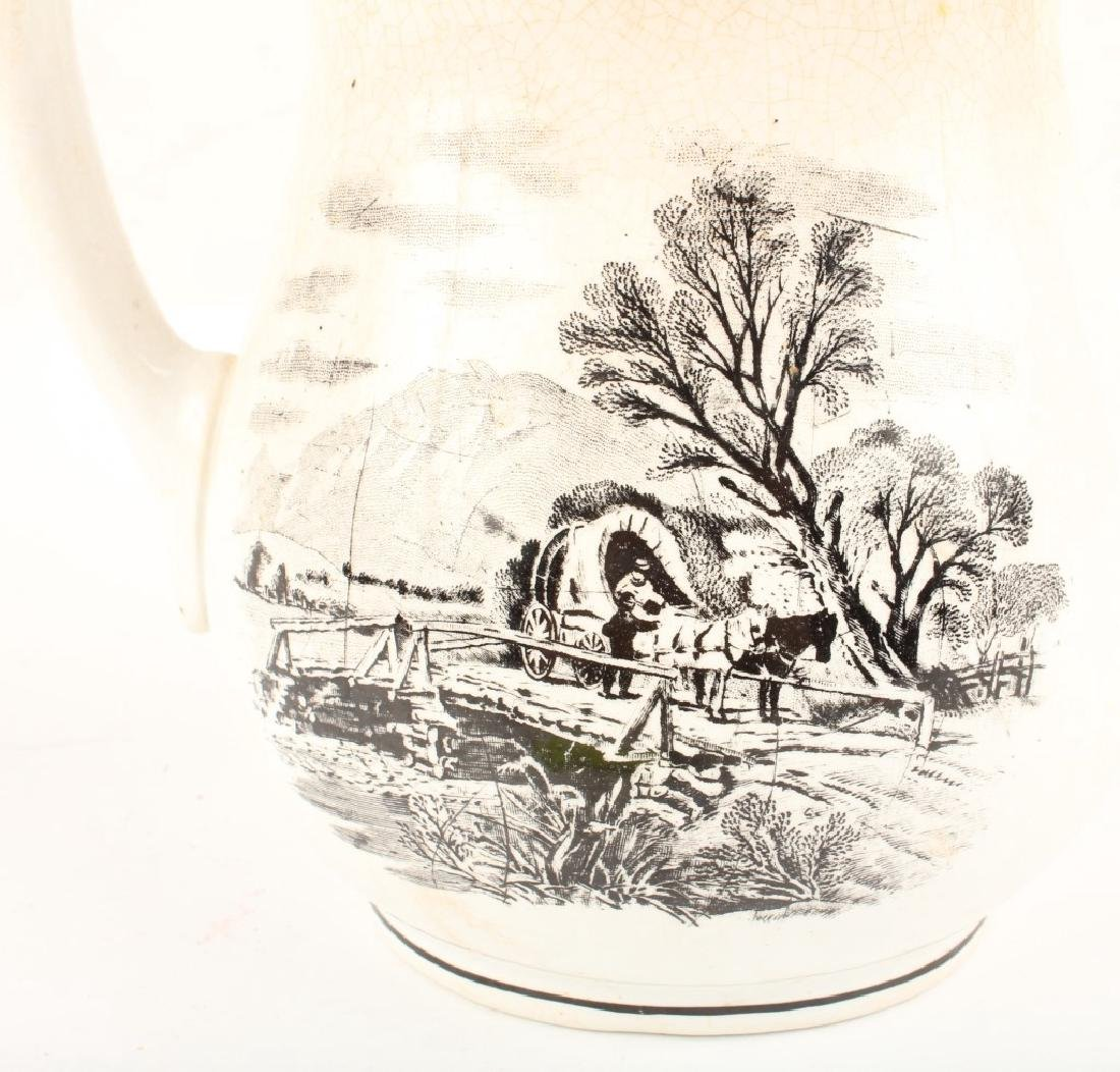 IRONSTONE CHINA PITCHER WITH EQUESTRIAN MOTIF - 2