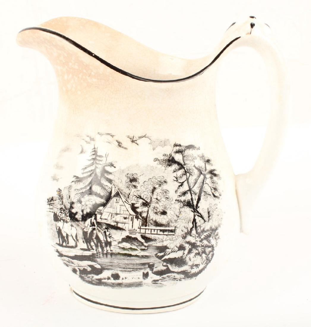 IRONSTONE CHINA PITCHER WITH EQUESTRIAN MOTIF - 4