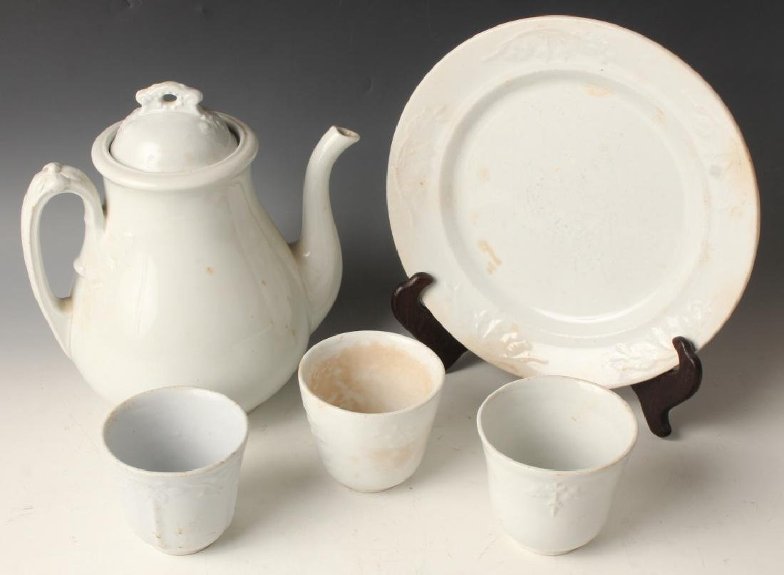 19TH CENTURY IRONSTONE CHINA  TEAPOT TEACUPS