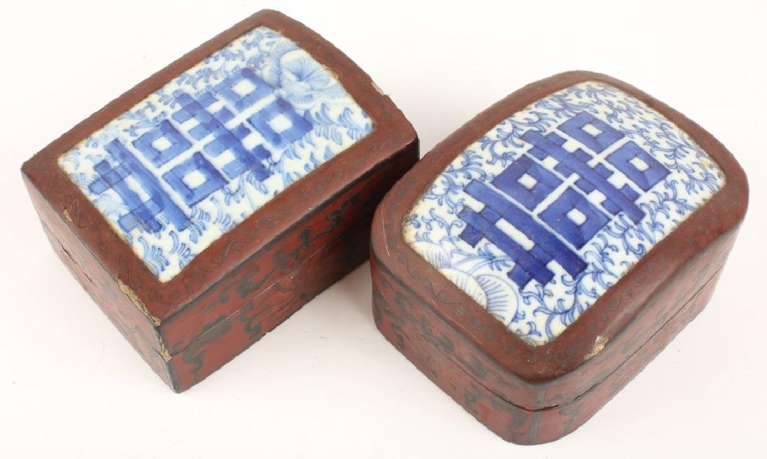 PAIR CHINESE POTTERY SHARD BOXES