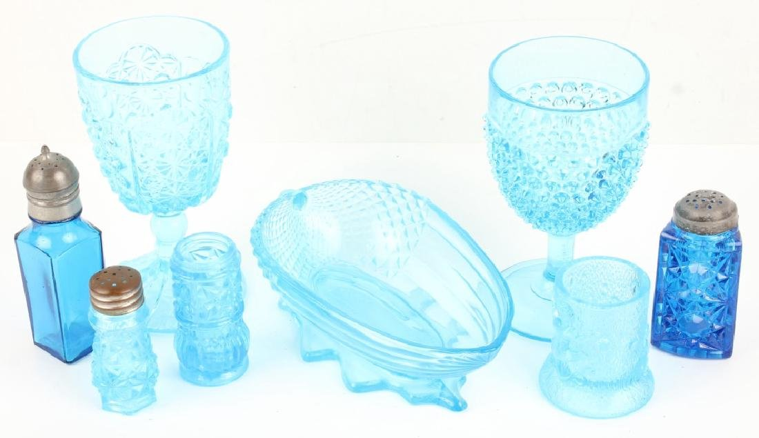 BLUE GLASSWARE GOBLETS SHAKERS NUT BOWL