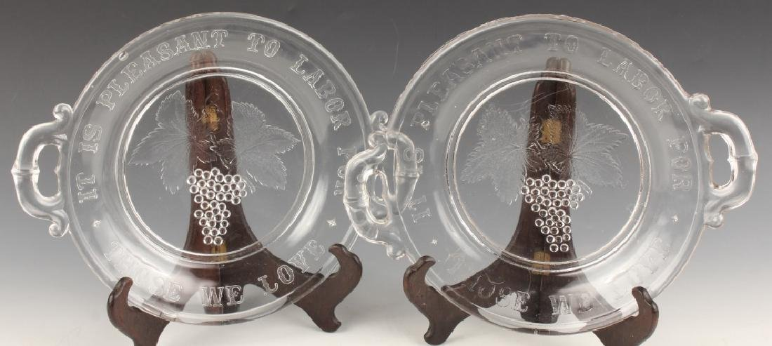 PAIR EAPG PRESSED GLASS BREAD PLATE WITH MOTTO
