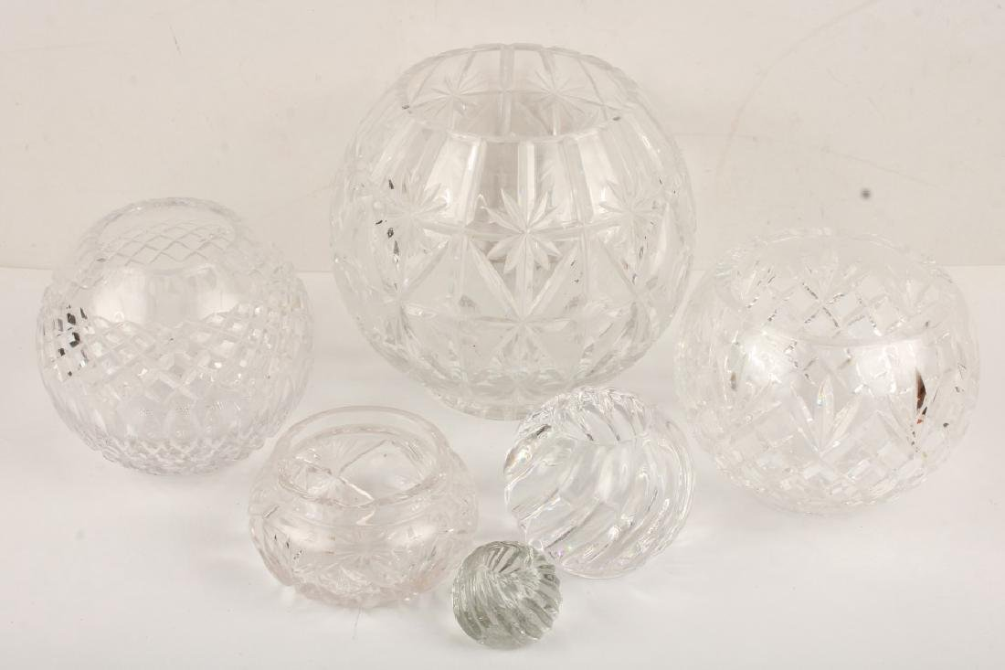 SIX GLASS SPHERICAL VASES AND CANDLE HOLDERS