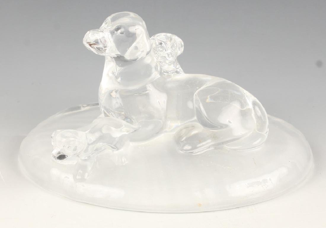 CRISTAL D'ARQUES DOG AND PUPPIES SCULPTURE