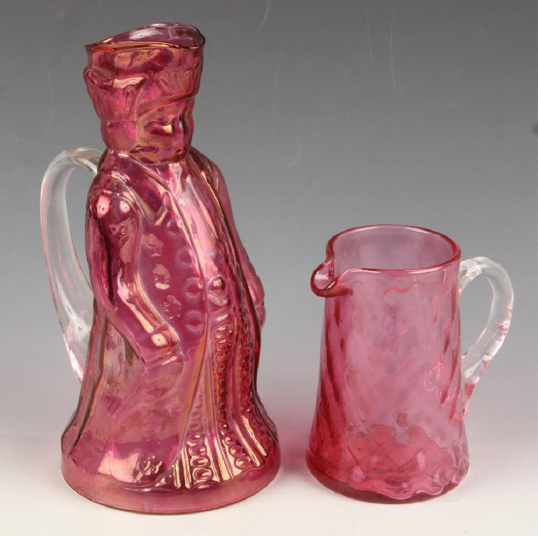 CRANBERRY GLASS TOBY FIGURAL PITCHER PILGRIM CREAM