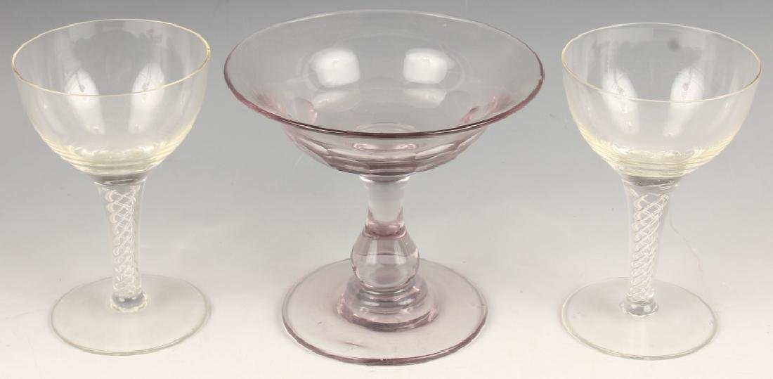 PAIR GOBLETS FOR DIGESTIVES PINK CHAMPAGNE SAUCER