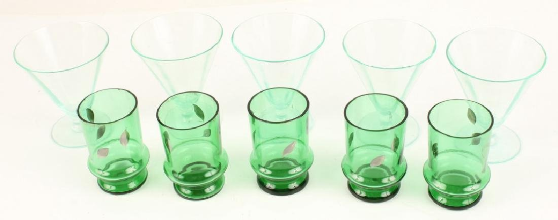 TEN 20TH CENTURY GREEN SHOT GLASSES