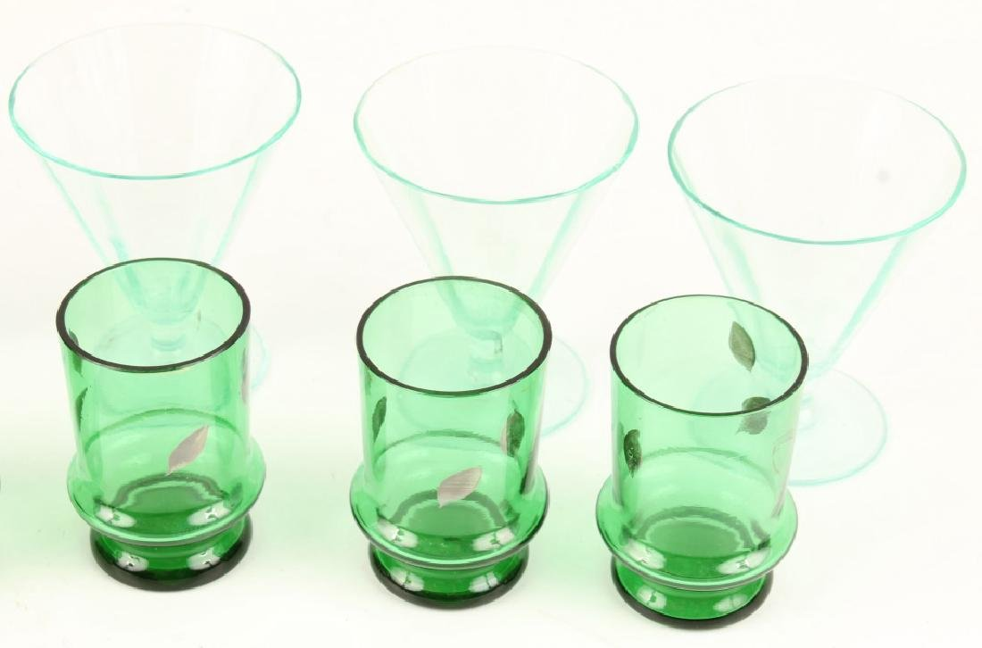 TEN 20TH CENTURY GREEN SHOT GLASSES - 2