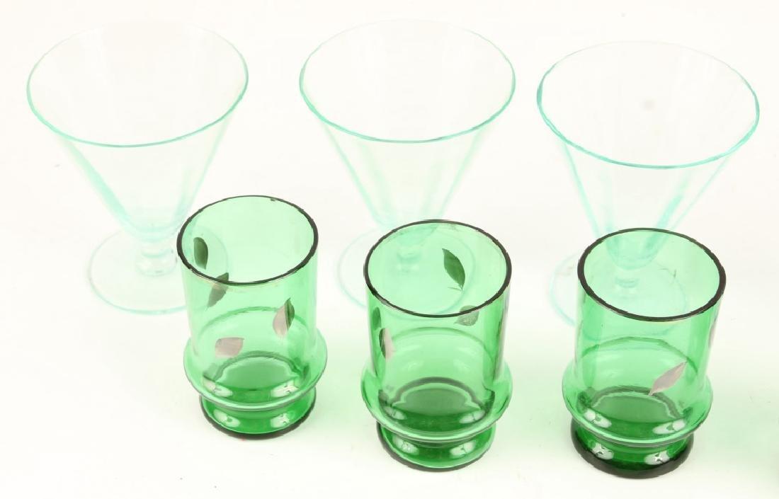 TEN 20TH CENTURY GREEN SHOT GLASSES - 3