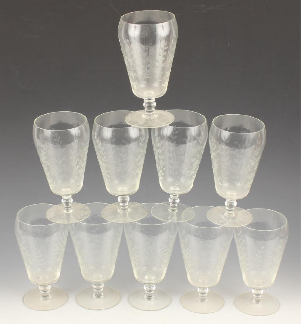 10 CLEAR GLASS GOBLETS WITH CUT VINES AND FLOWERS