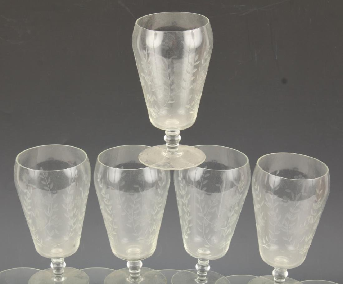 10 CLEAR GLASS GOBLETS WITH CUT VINES AND FLOWERS - 2