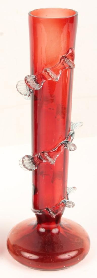 PAIR RED ART GLASS VASES - 4