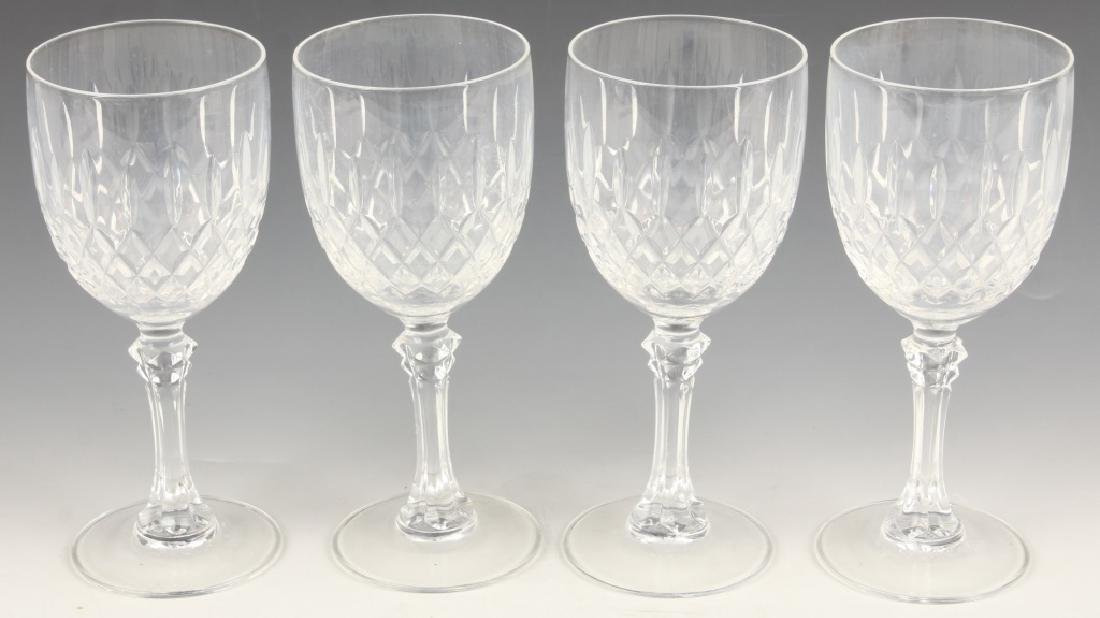 4 CLEAR WHITE WINE GLASSES DIAMOND PATTERN
