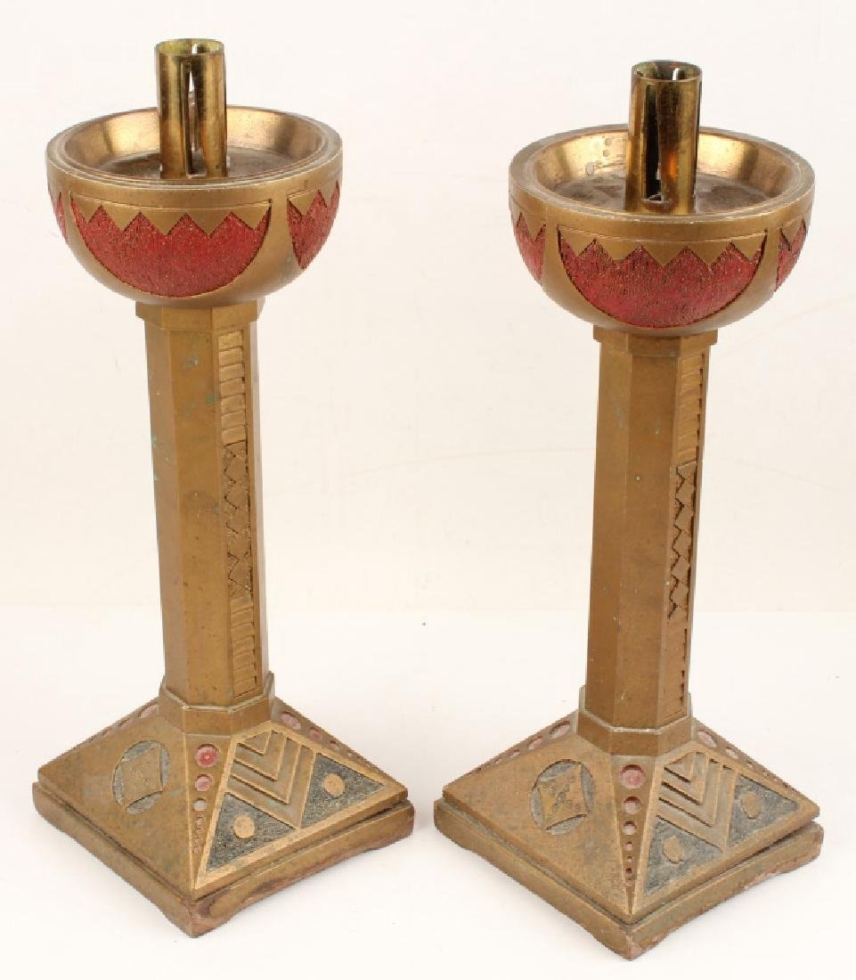 PAIR OF BRASS TAPERED CANDLE HOLDERS