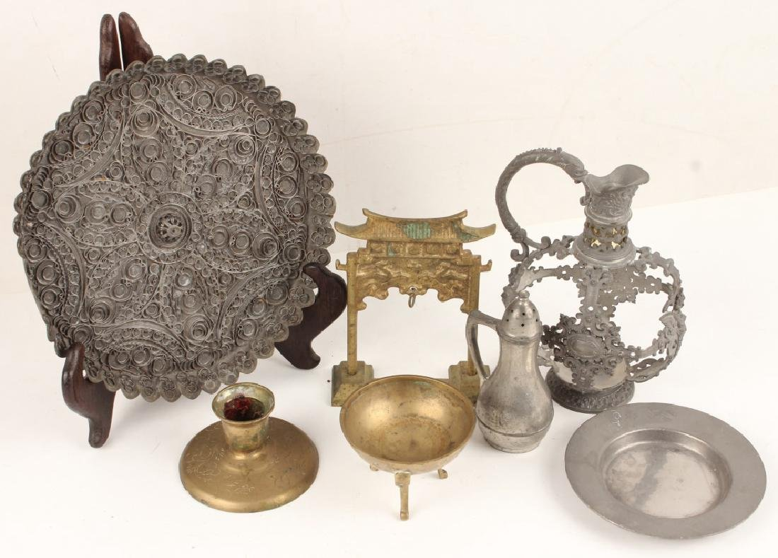 SEVEN PIECE PEWTER AND BRASS LOT