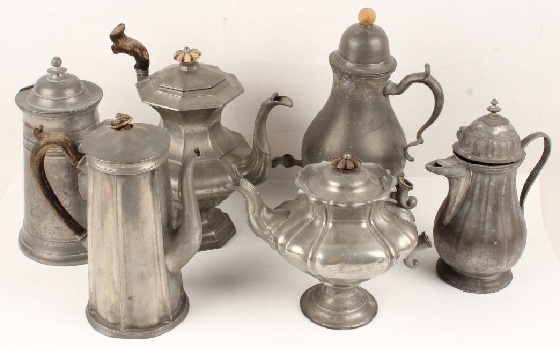 6 PEWTER SERVING PIECES PITCHERS & DRINK DISPENSER
