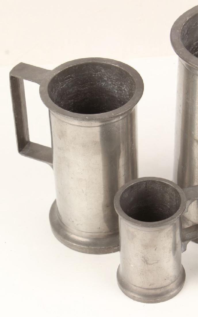 FIVE 20TH CENTURY ASCENDING SIZE PEWTER STEINS - 2