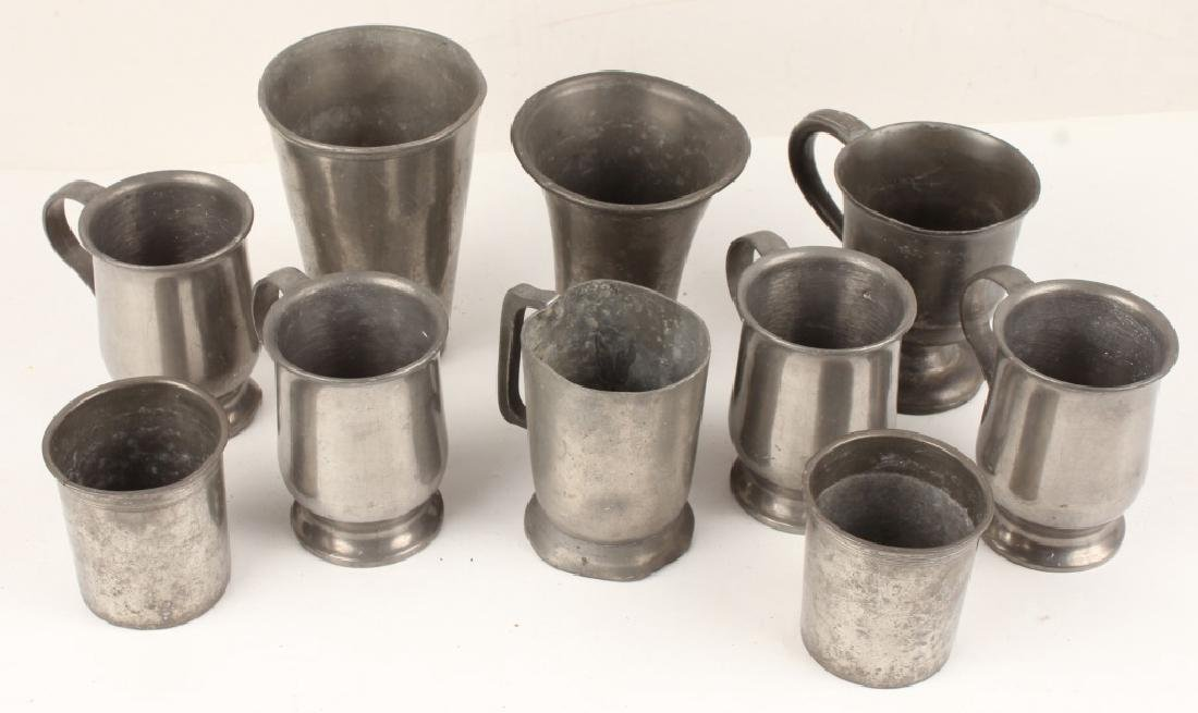 10 PIECE 20TH CENTURY PEWTER CUPS