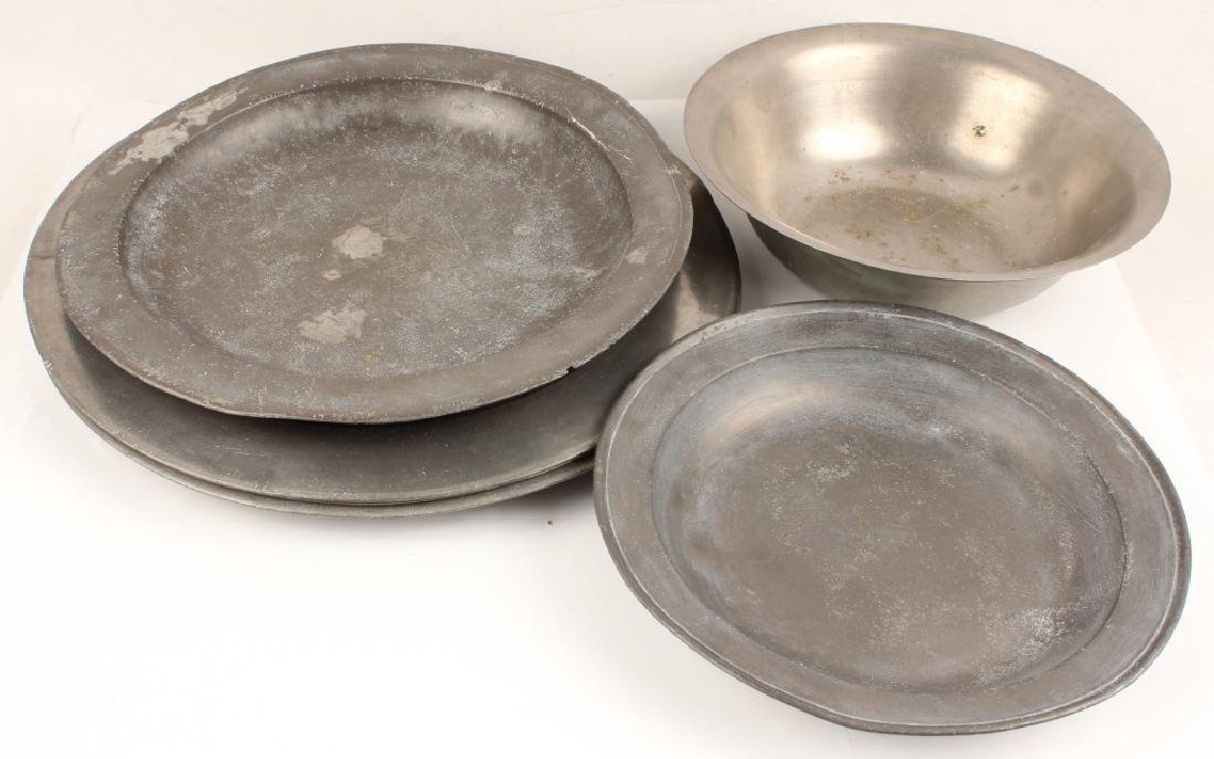 ASSORTED 7 PIECE LARGE PEWTER SERVING PIECES