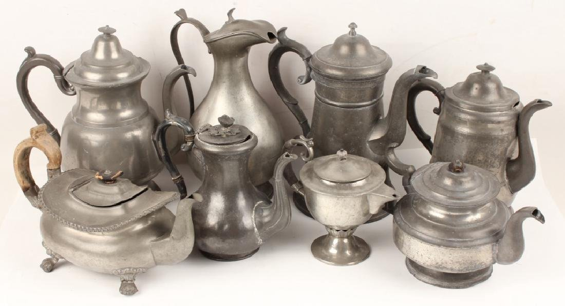 PEWTER TEAPOTS - LOT OF 10