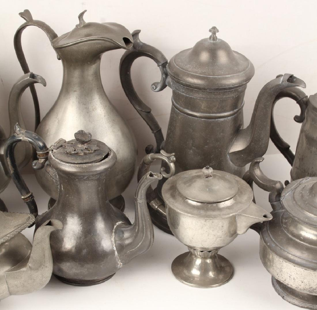 PEWTER TEAPOTS - LOT OF 10 - 3