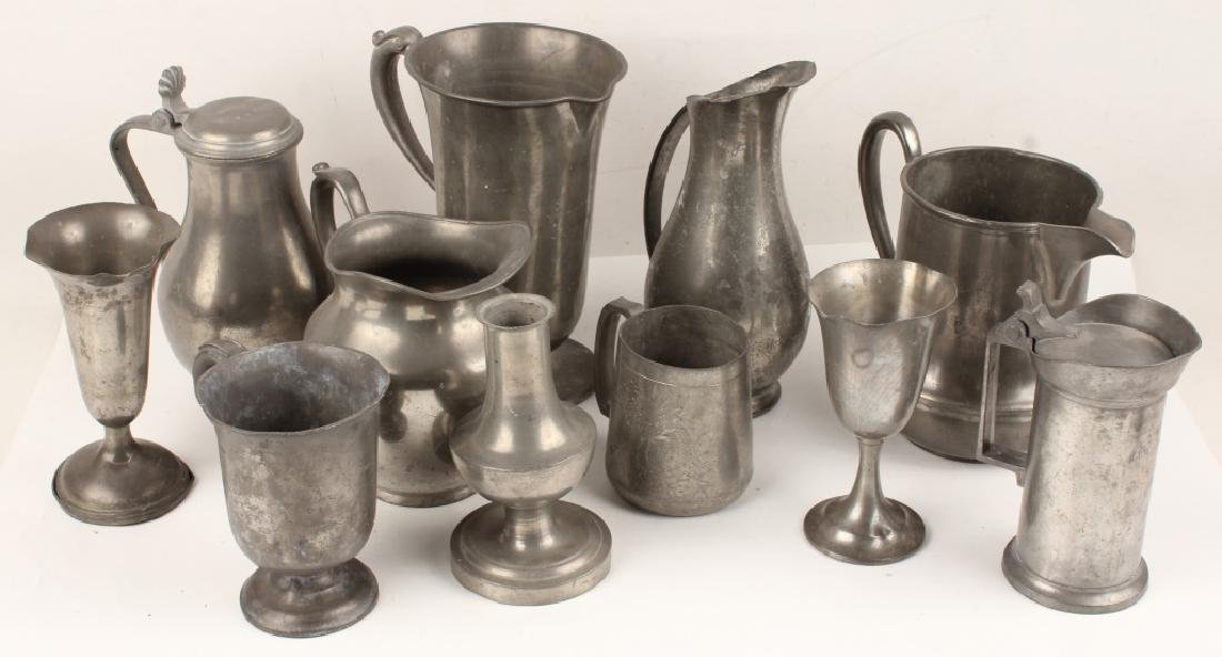 20TH CENTURY 11 PIECE PEWTER PITCHERS AND CUPS