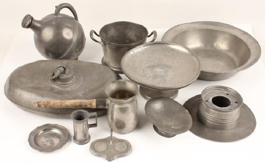 11 PIECES OF PEWTER HOUSEWARES
