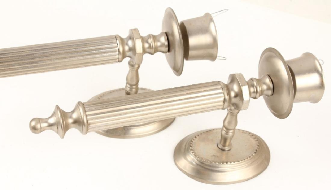 PAIR OF CONTEMPORARY NICKEL PLATED SCONCES - 2