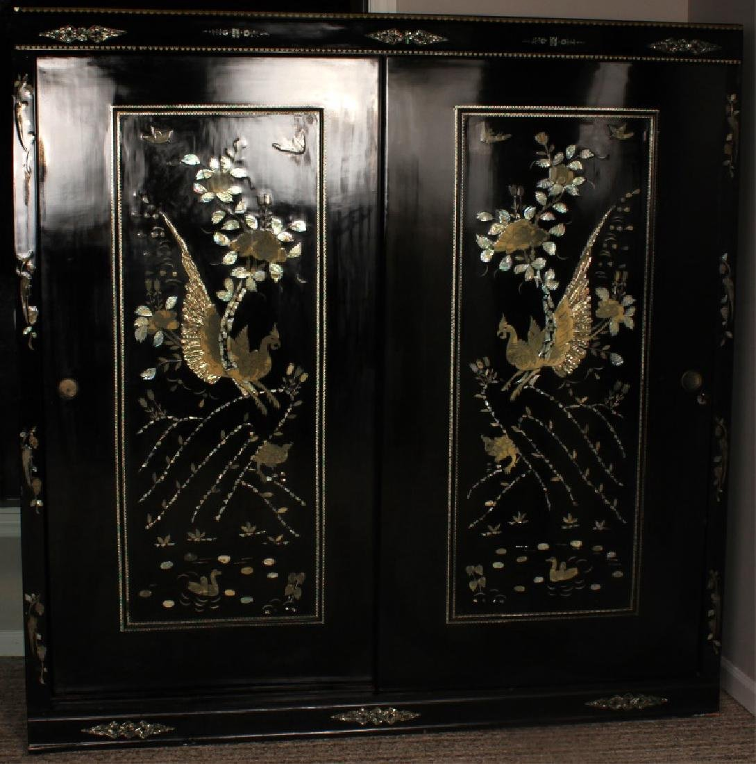 PAIR JAPANESE WARDROBE CLOSETS MOTHER OF PEARL