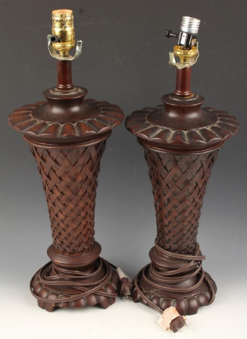 PAIR OF BALI STYLE LATTICE PATTERN TABLE LAMP
