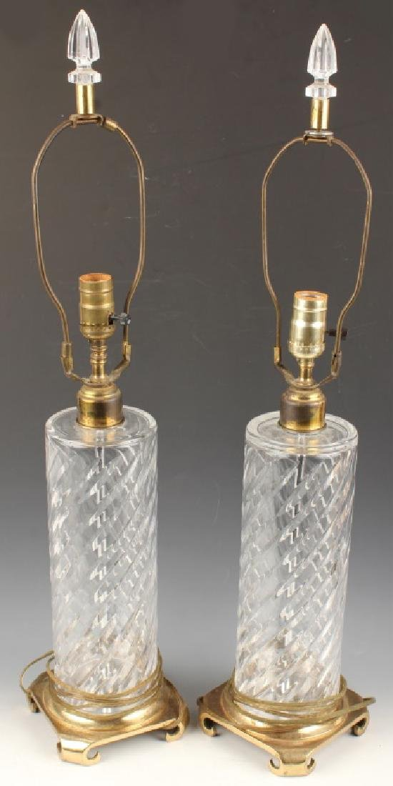 PAIR OF CRYSTAL TABLE LAMP BASES WITH BRASS FEET