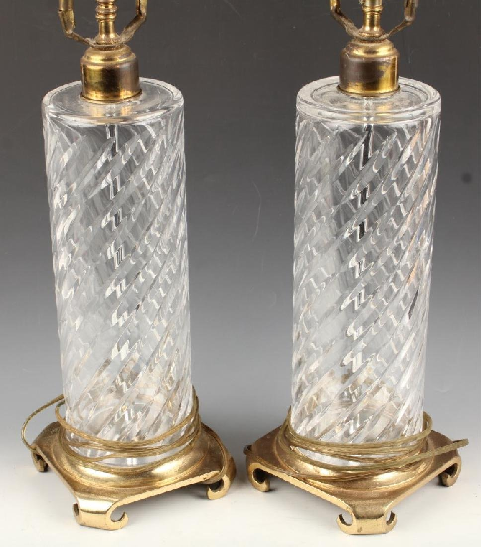 PAIR OF CRYSTAL TABLE LAMP BASES WITH BRASS FEET - 2