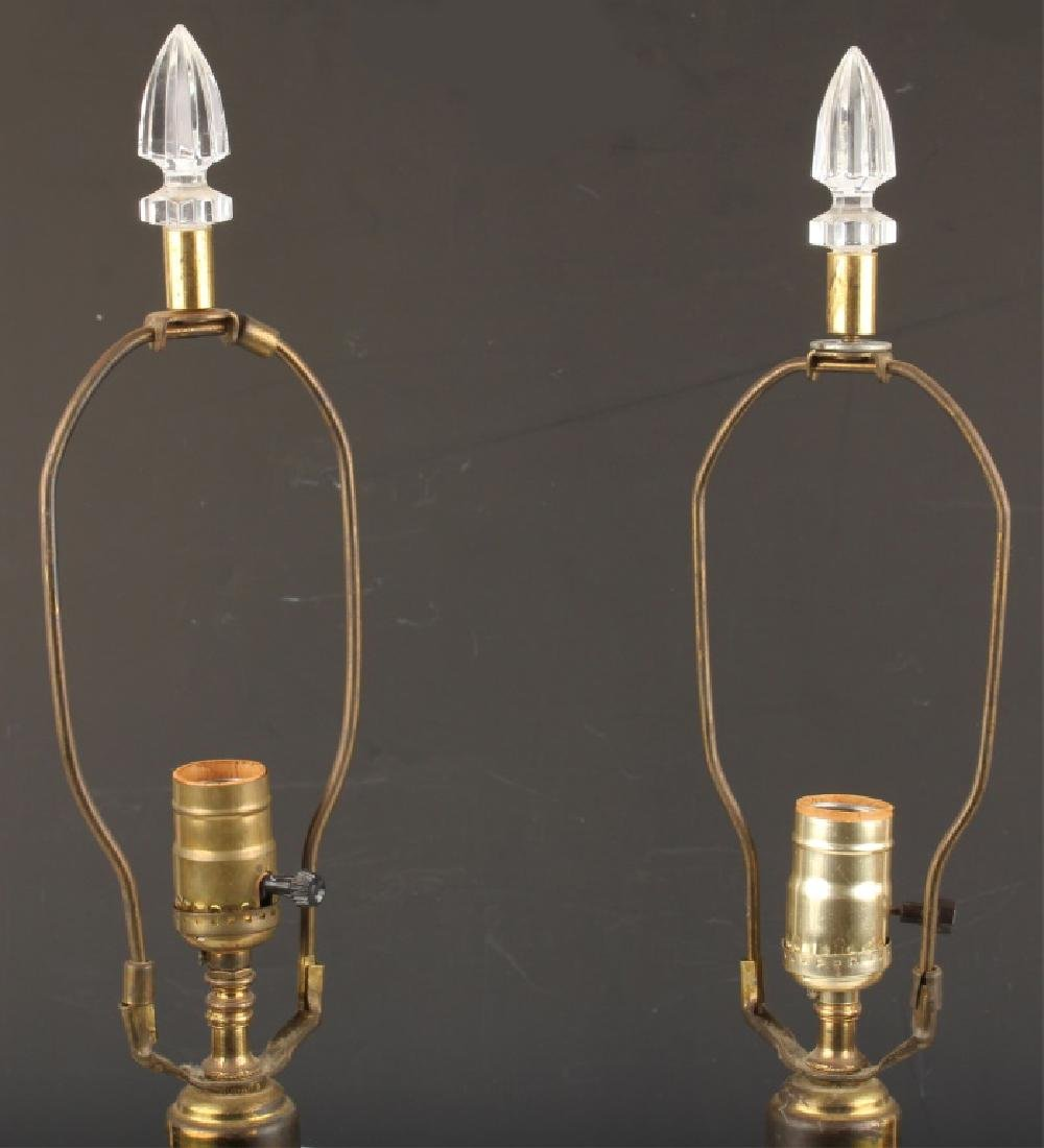 PAIR OF CRYSTAL TABLE LAMP BASES WITH BRASS FEET - 3