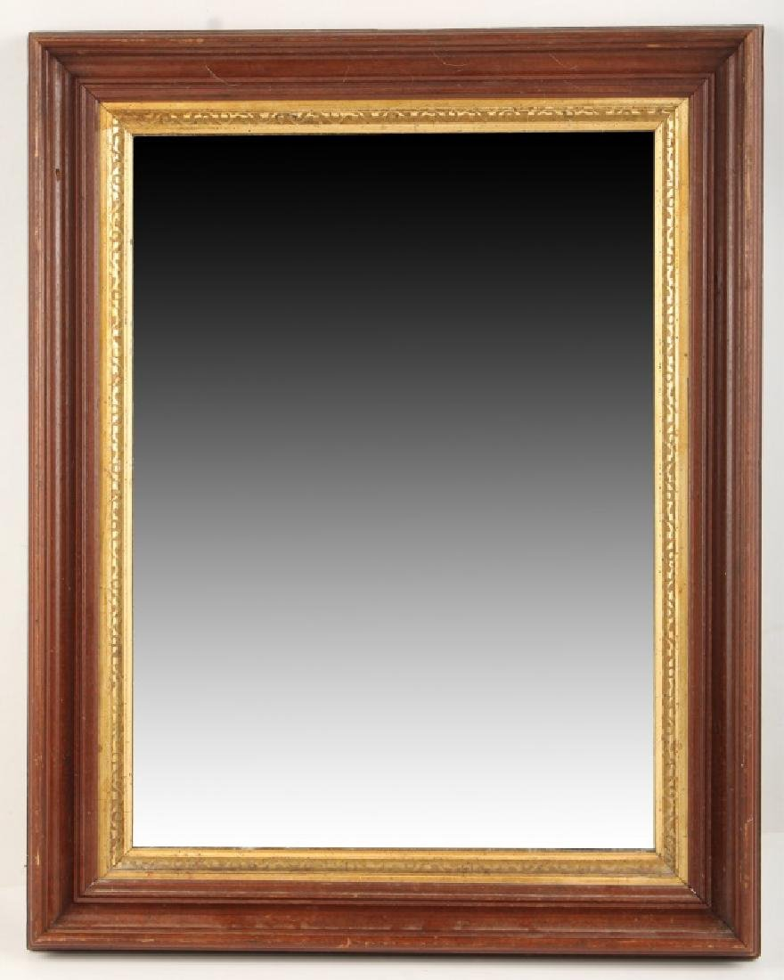 WALL MIRROR WITH GOLD ACCENTED WOOD FRAME
