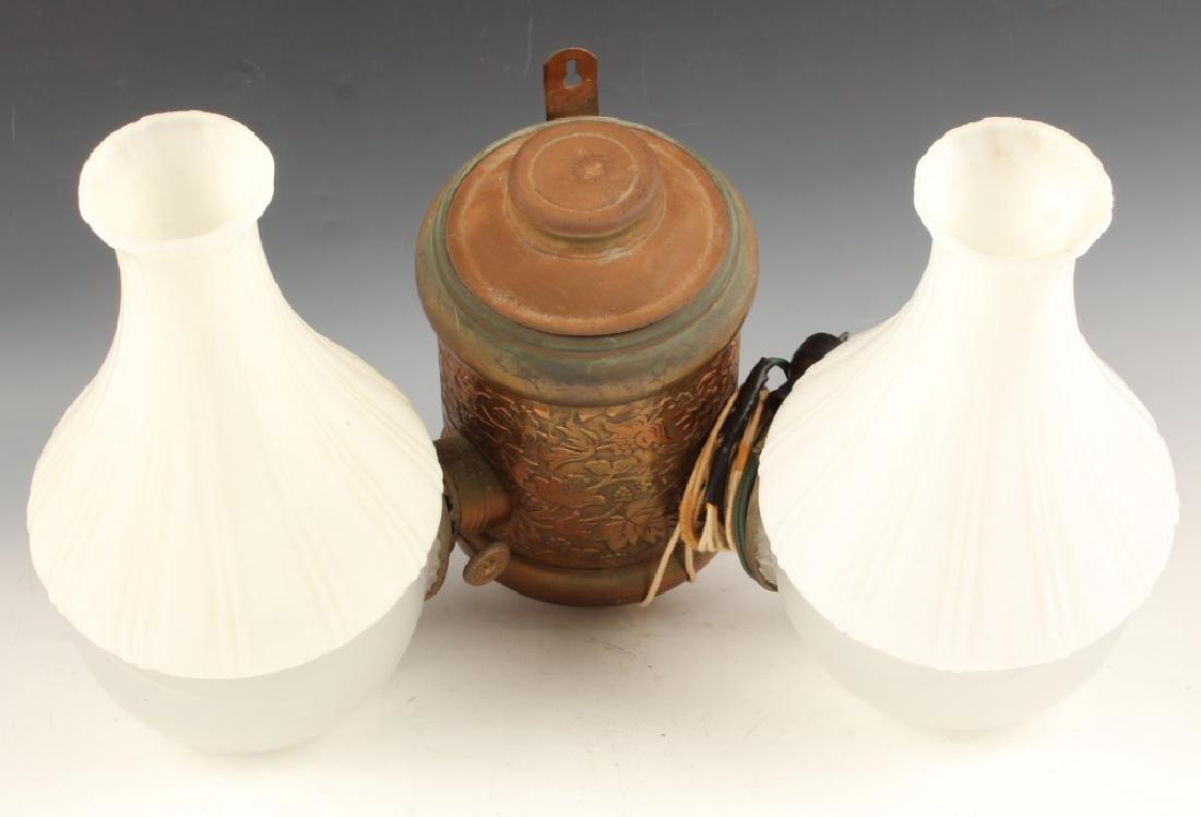 19TH CENTURY DOUBLE BURNER ANGLE KEROSENE LAMP
