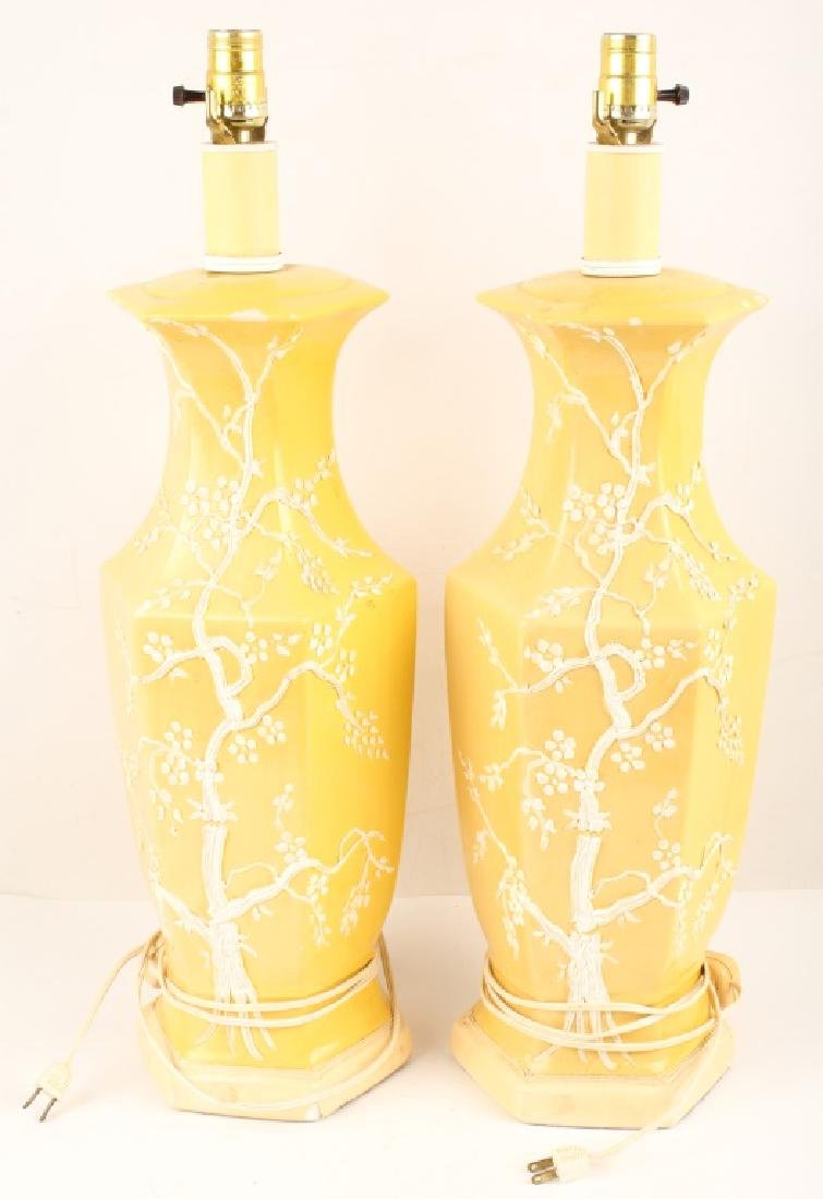 PAIR JAPANESE INSPIRED CERAMIC TABLE LAMP BASES