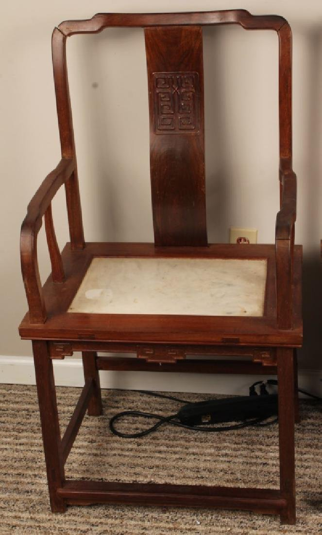 PAIR 19TH CENTURY CHINESE CHAIRS WITH MARBLE INLAY - 2