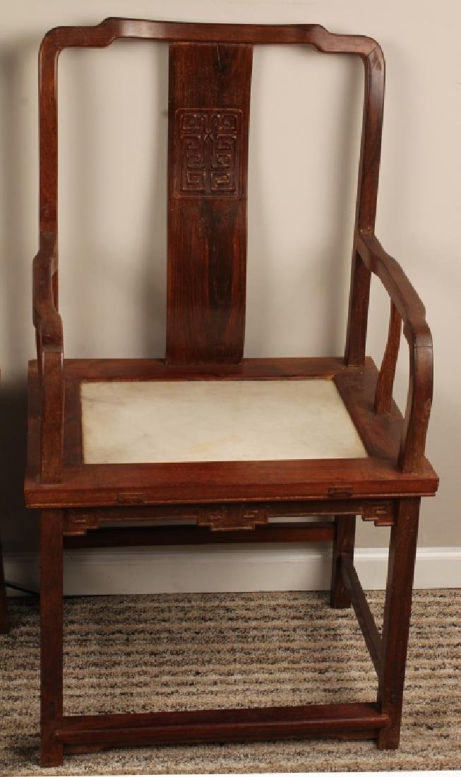 PAIR 19TH CENTURY CHINESE CHAIRS WITH MARBLE INLAY - 3