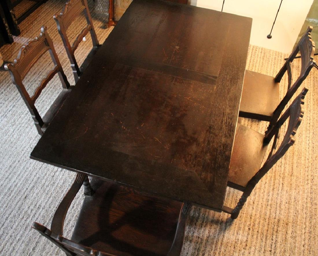 DARK WOOD TABLE WITH FIVE CHAIRS SPIRAL TWIST LEGS