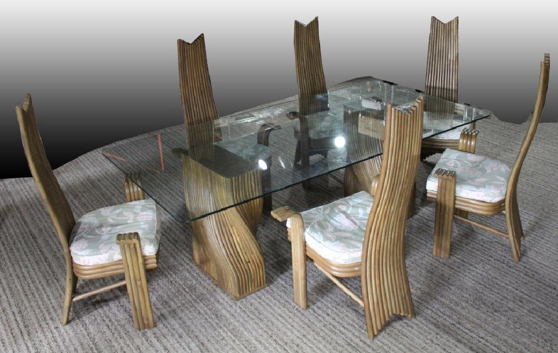 JAPANESE BAMBOO AND GLASS DINING TABLE AND CHAIRS