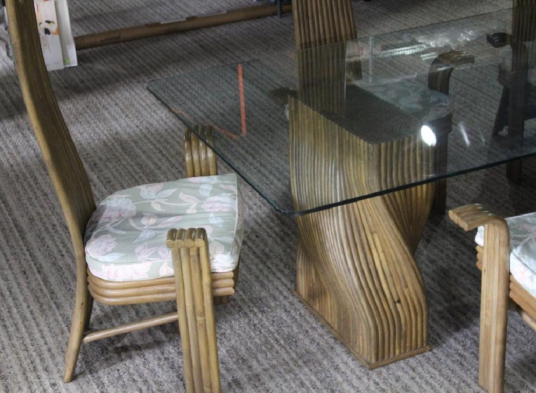JAPANESE BAMBOO AND GLASS DINING TABLE AND CHAIRS - 2