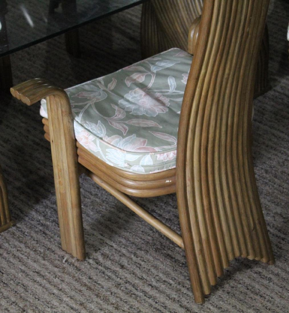 JAPANESE BAMBOO AND GLASS DINING TABLE AND CHAIRS - 3