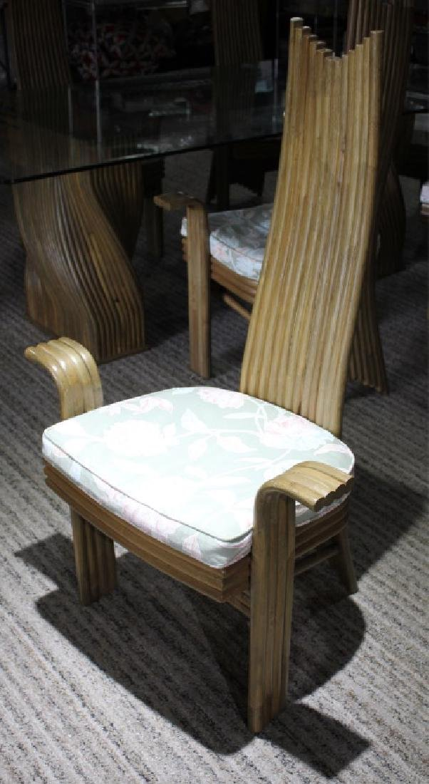 JAPANESE BAMBOO AND GLASS DINING TABLE AND CHAIRS - 4