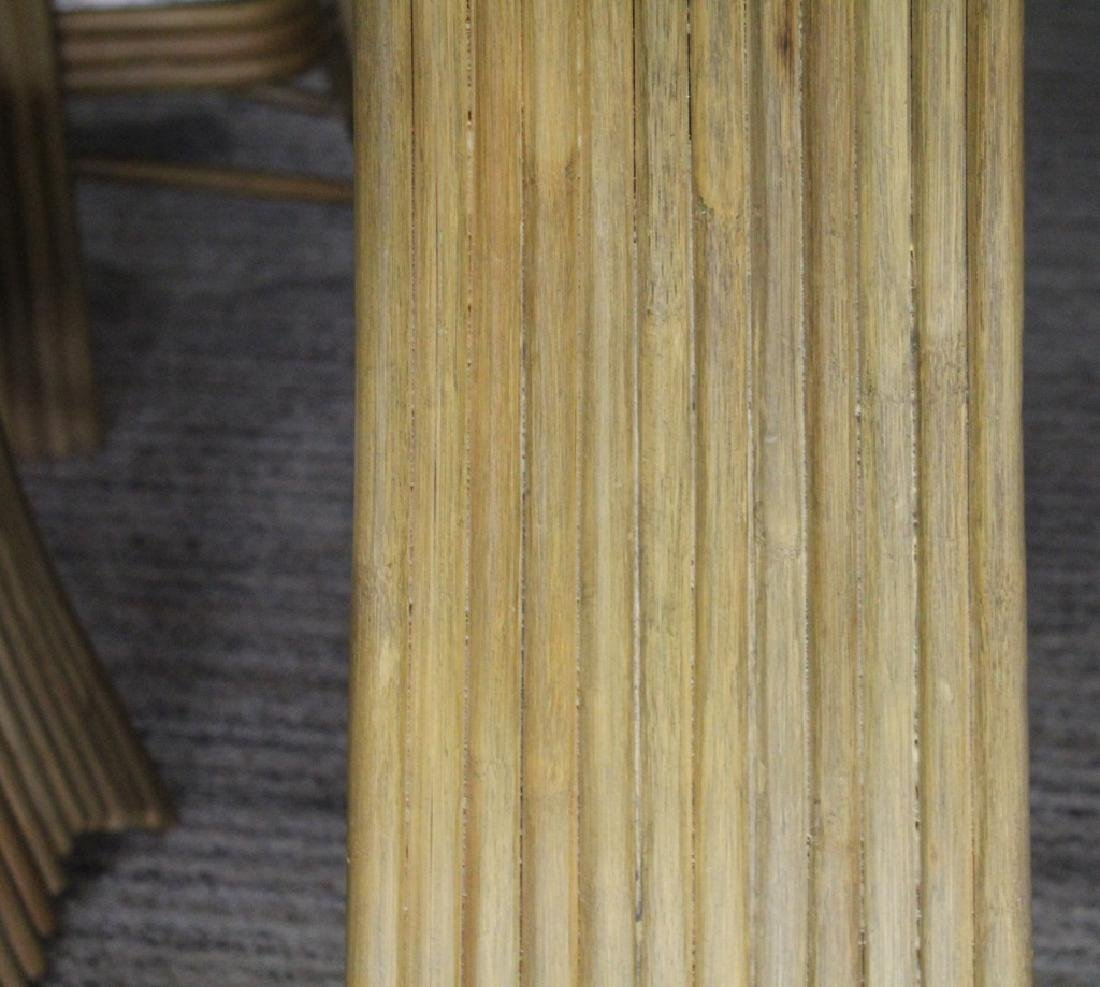 JAPANESE BAMBOO AND GLASS DINING TABLE AND CHAIRS - 6