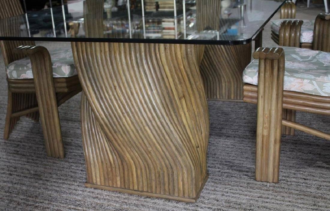 JAPANESE BAMBOO AND GLASS DINING TABLE AND CHAIRS - 7