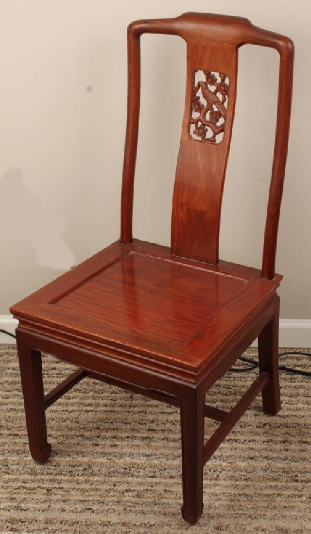 CHINESE WOODEN CARVED BACK CHAIR