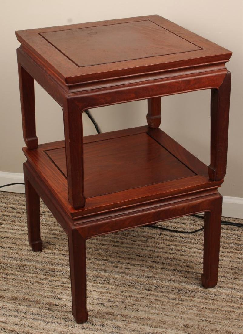 PAIR OF CHINESE WOOD END TABLES