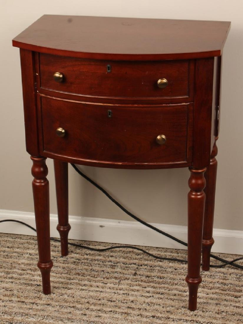 WOODEN BOW FRONT TWO DRAWER SIDE TABLE