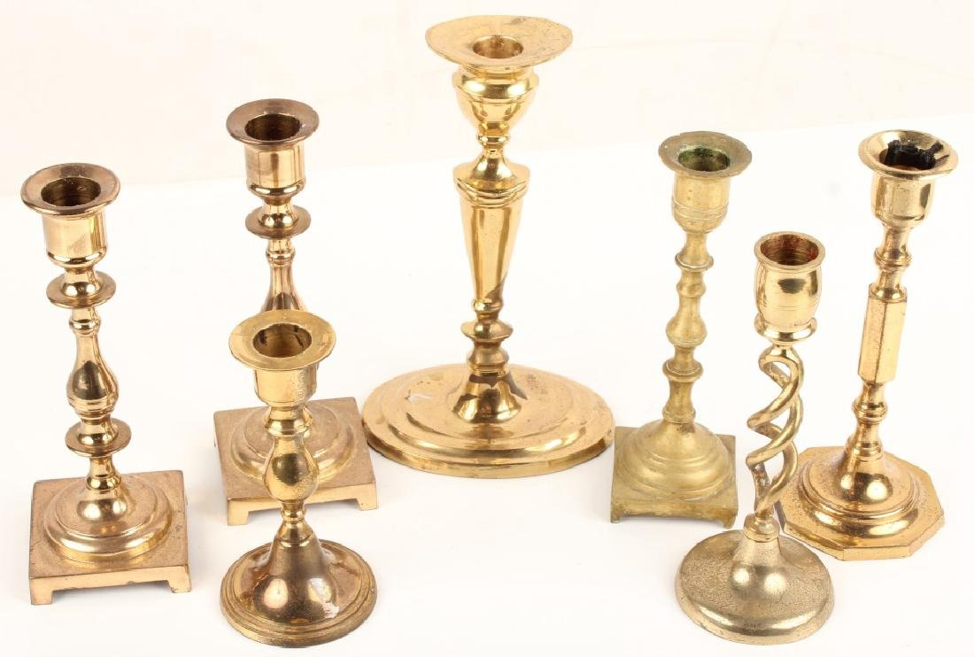 7 GOLD FINISH TAPERED CANDLE HOLDERS