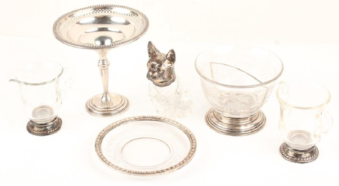 STERLING SILVER GLASS DOG SHAKER COMPOTE & MORE